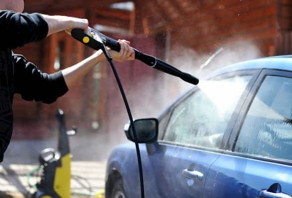 car washing with pressure washer